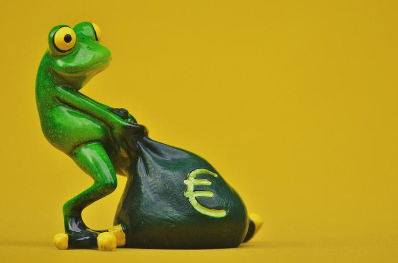 žabák s pytlem peněz